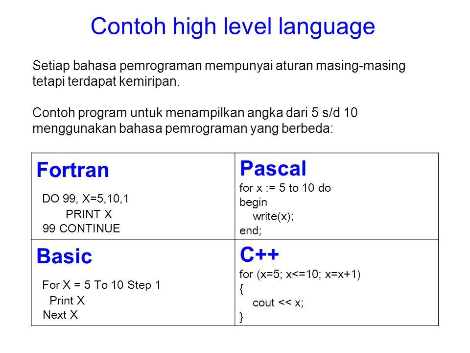 Setiap bahasa pemrograman mempunyai aturan masing-masing tetapi terdapat kemiripan. Contoh program untuk menampilkan angka dari 5 s/d 10 menggunakan b