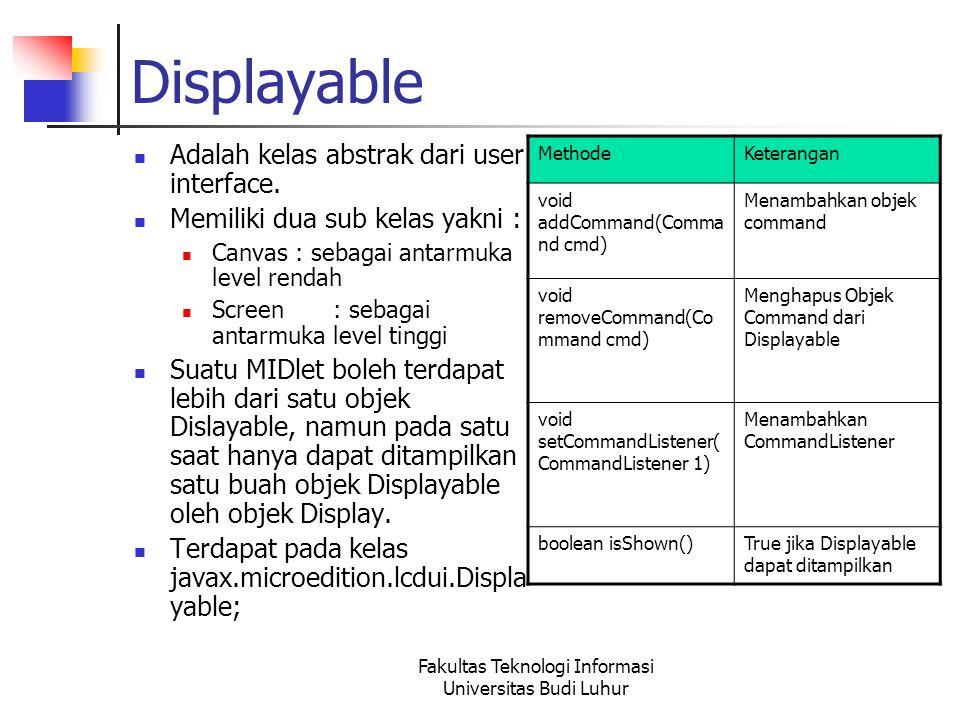 Fakultas Teknologi Informasi Universitas Budi Luhur Displayable Adalah kelas abstrak dari user interface.