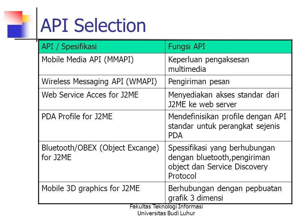 Fakultas Teknologi Informasi Universitas Budi Luhur API Selection API / SpesifikasiFungsi API Mobile Media API (MMAPI)Keperluan pengaksesan multimedia Wireless Messaging API (WMAPI)Pengiriman pesan Web Service Acces for J2MEMenyediakan akses standar dari J2ME ke web server PDA Profile for J2MEMendefinisikan profile dengan API standar untuk perangkat sejenis PDA Bluetooth/OBEX (Object Excange) for J2ME Spessifikasi yang berhubungan dengan bluetooth,pengiriman object dan Service Discovery Protocol Mobile 3D graphics for J2MEBerhubungan dengan pepbuatan grafik 3 dimensi