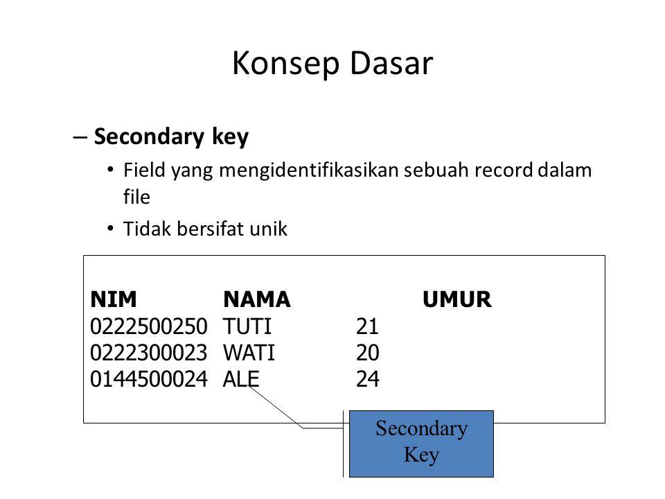 Konsep Dasar – Secondary key Field yang mengidentifikasikan sebuah record dalam file Tidak bersifat unik NIMNAMAUMUR 0222500250TUTI21 0222300023WATI20