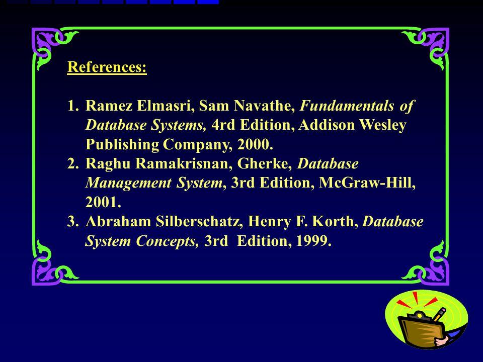 References: 1.Ramez Elmasri, Sam Navathe, Fundamentals of Database Systems, 4rd Edition, Addison Wesley Publishing Company, 2000. 2.Raghu Ramakrisnan,