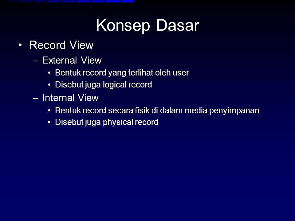 Konsep Dasar Record View –External View Bentuk record yang terlihat oleh user Disebut juga logical record –Internal View Bentuk record secara fisik di