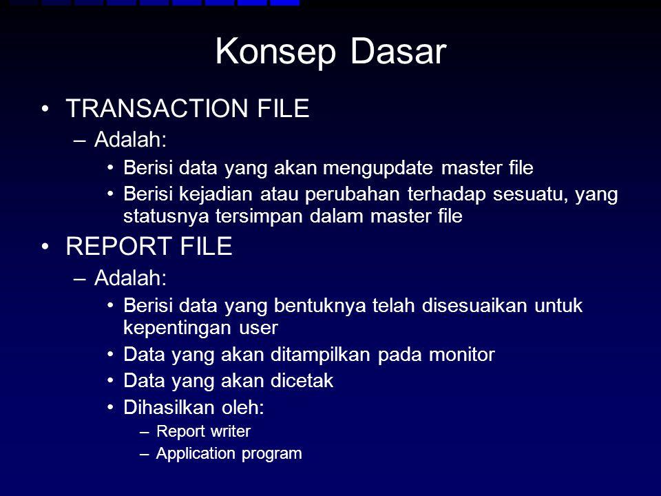 Konsep Dasar TRANSACTION FILE –Adalah: Berisi data yang akan mengupdate master file Berisi kejadian atau perubahan terhadap sesuatu, yang statusnya te