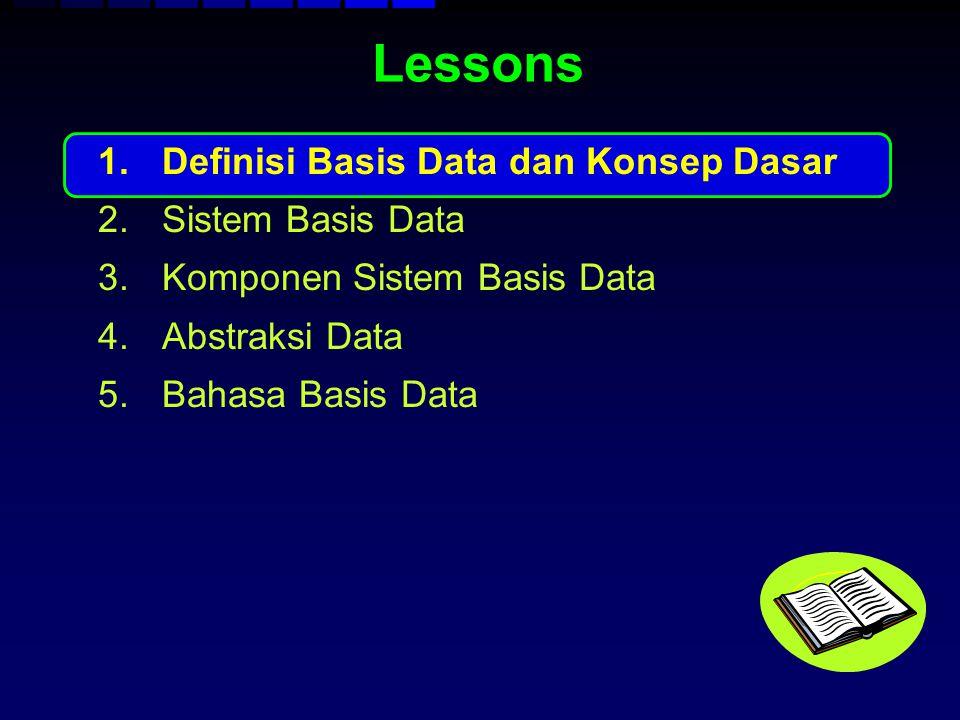 Lessons 1.Definisi Basis Data dan Konsep Dasar 2.Sistem Basis Data 3.Komponen Sistem Basis Data 4.Abstraksi Data 5.Bahasa Basis Data