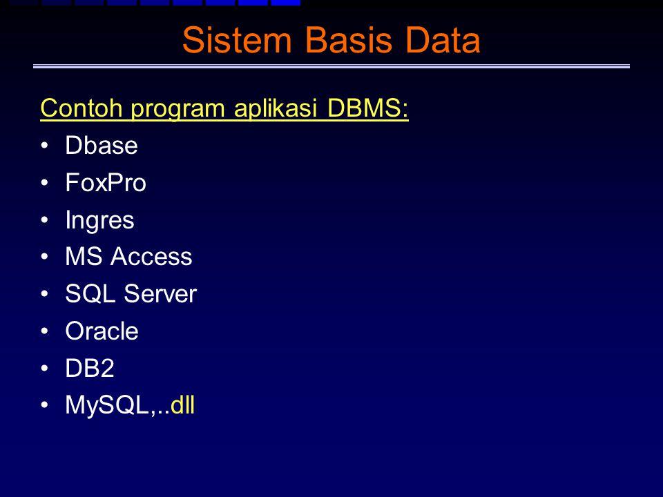 Sistem Basis Data Contoh program aplikasi DBMS: Dbase FoxPro Ingres MS Access SQL Server Oracle DB2 MySQL,..dll