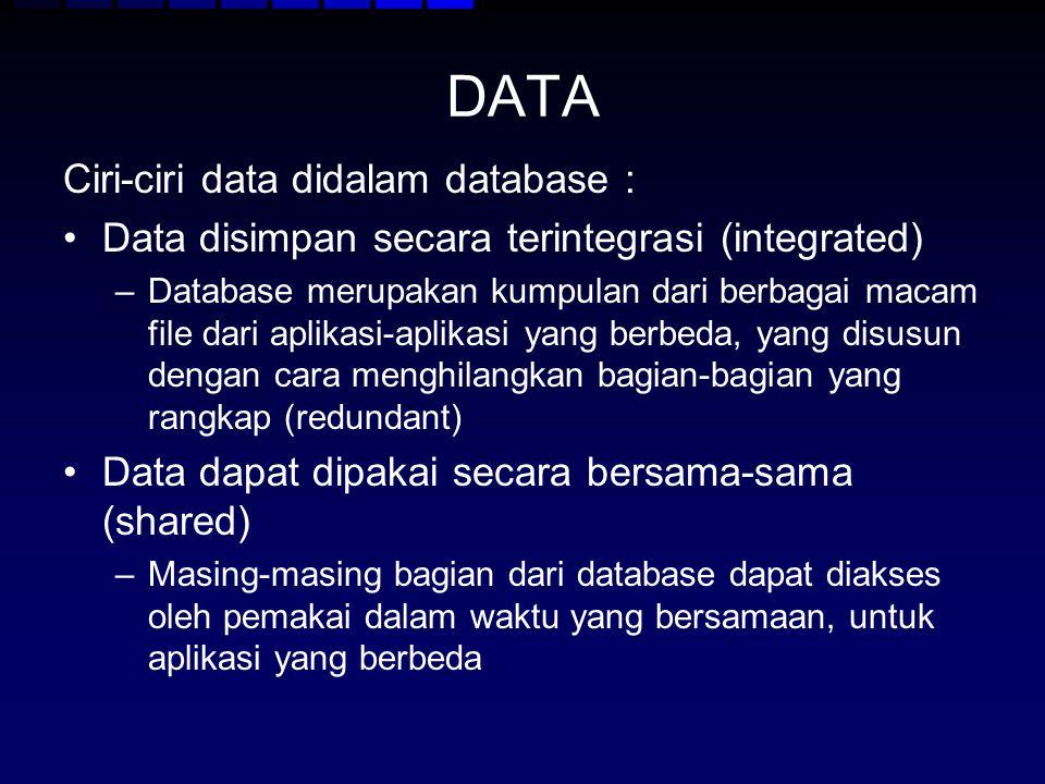 DATA Ciri-ciri data didalam database : Data disimpan secara terintegrasi (integrated) –Database merupakan kumpulan dari berbagai macam file dari aplik