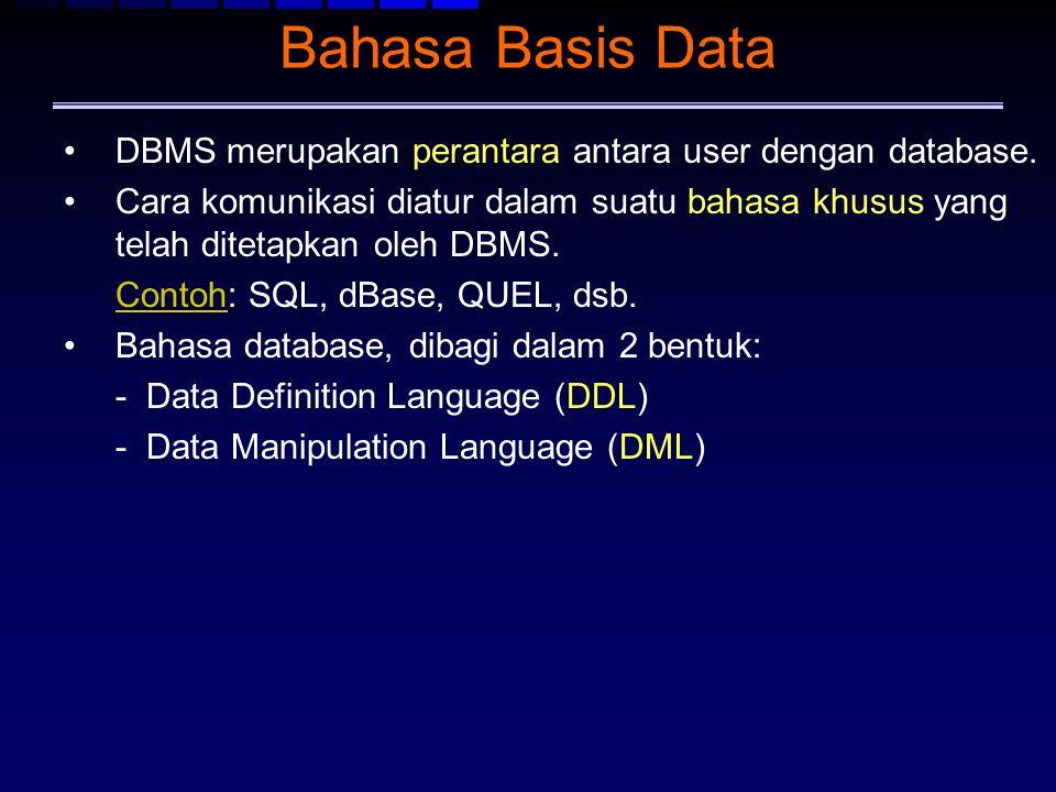 Bahasa Basis Data DBMS merupakan perantara antara user dengan database. Cara komunikasi diatur dalam suatu bahasa khusus yang telah ditetapkan oleh DB