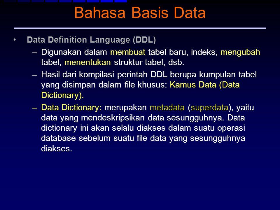 Bahasa Basis Data Data Definition Language (DDL) –Digunakan dalam membuat tabel baru, indeks, mengubah tabel, menentukan struktur tabel, dsb. –Hasil d