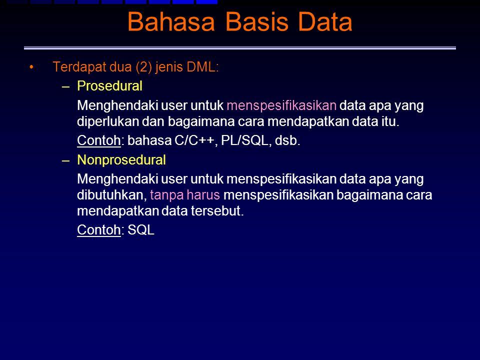 Bahasa Basis Data Terdapat dua (2) jenis DML: –Prosedural Menghendaki user untuk menspesifikasikan data apa yang diperlukan dan bagaimana cara mendapa