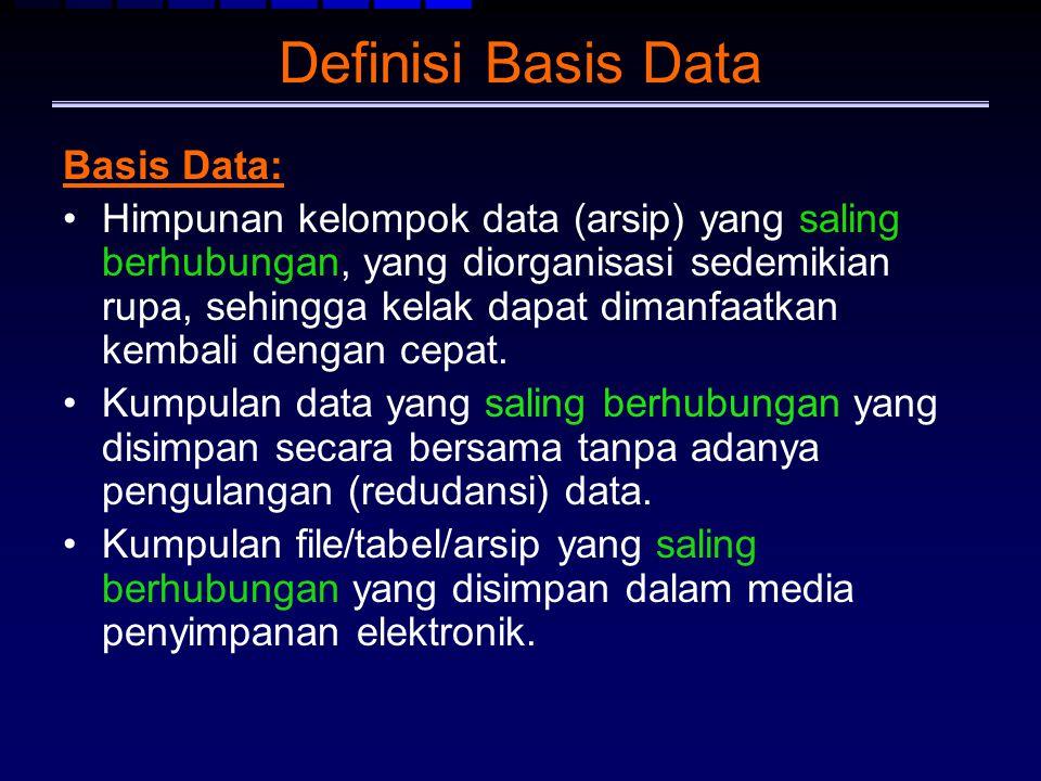 Definisi Basis Data Basis Data: Himpunan kelompok data (arsip) yang saling berhubungan, yang diorganisasi sedemikian rupa, sehingga kelak dapat dimanf