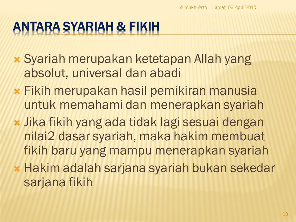  Syariah merupakan ketetapan Allah yang absolut, universal dan abadi  Fikih merupakan hasil pemikiran manusia untuk memahami dan menerapkan syariah