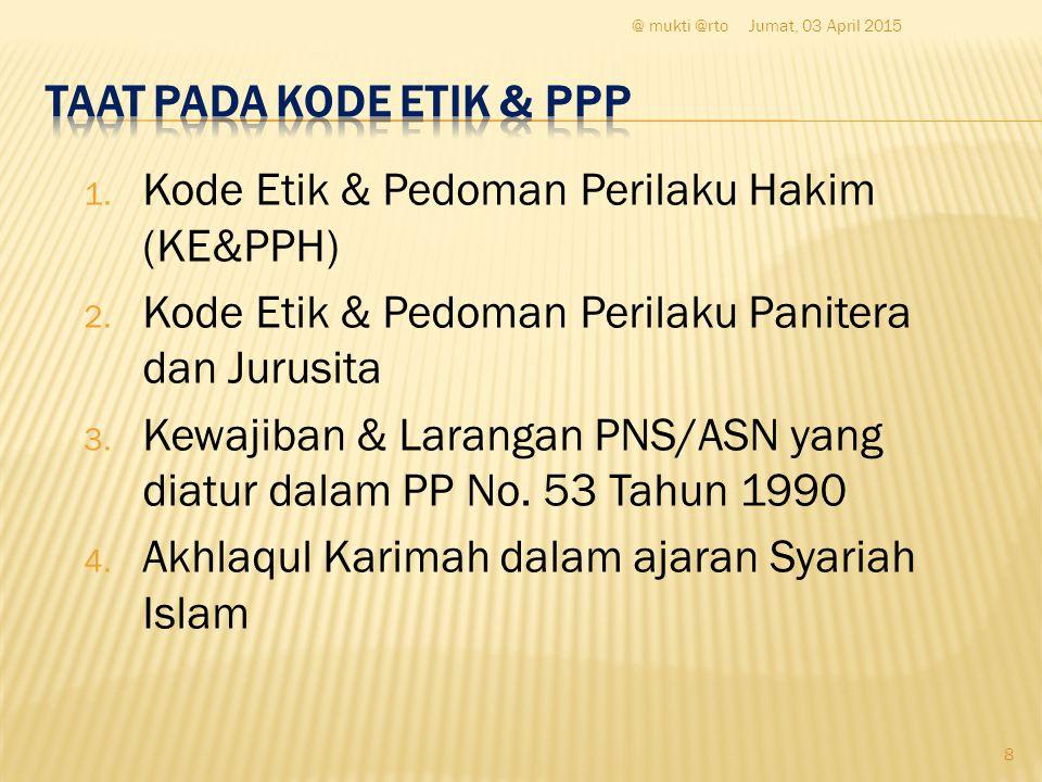 1. Kode Etik & Pedoman Perilaku Hakim (KE&PPH) 2.