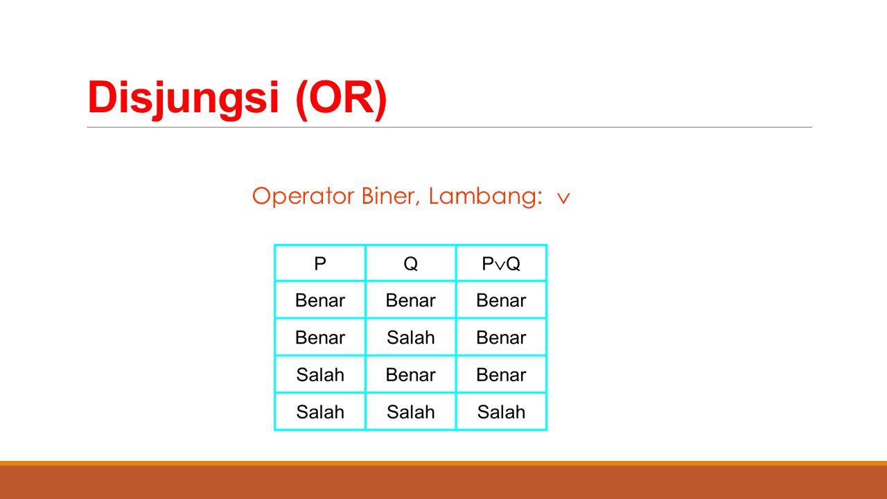 Disjungsi (OR) Operator Biner, Lambang: 