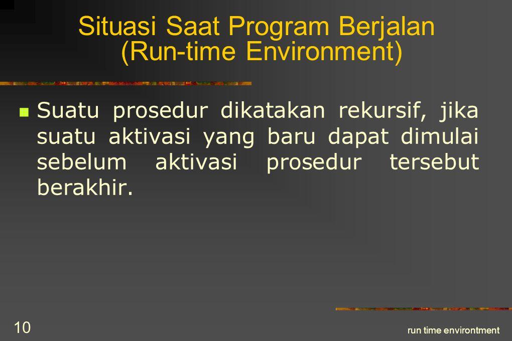 run time environtment 11 Pohon Aktivasi Pohon aktivasi dapat menggambarkan keluar dan masuknya kendali dari aktivasi suatu prosedur.