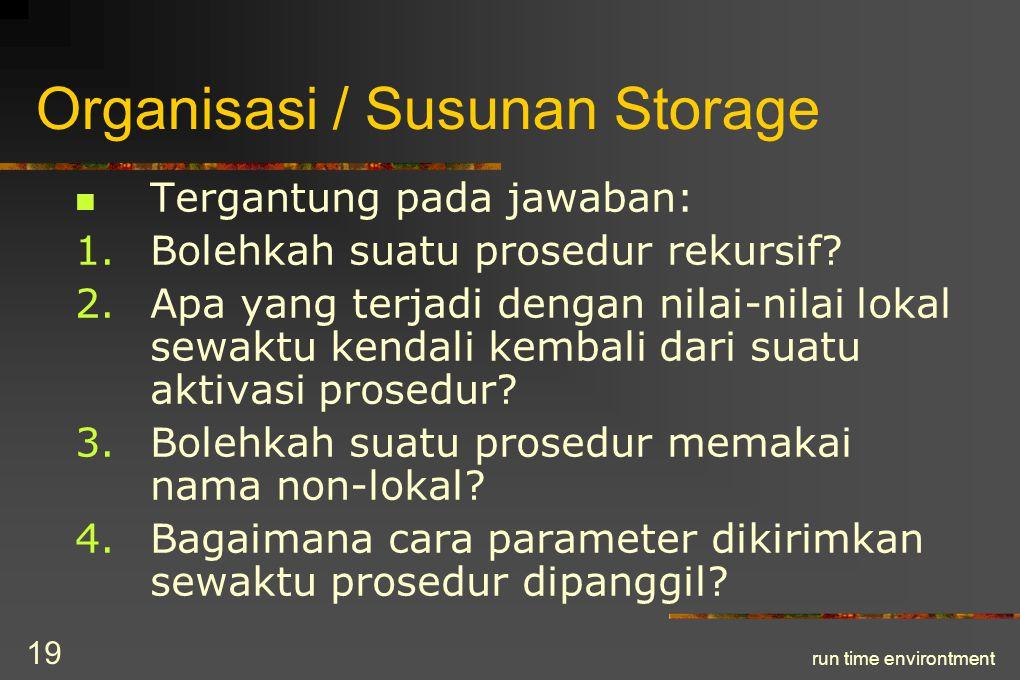 run time environtment 20 Organisasi / Susunan Storage (cont.) 5.Bolehkah suatu prosedur dikirim sebagai parameter.