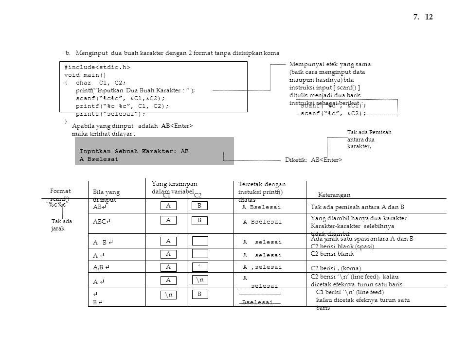 """#include void main() { char C1, C2; printf(""""Inputkan Dua Buah Karakter : """" ); scanf(""""%c%c"""", &C1,&C2); printf(""""%c %c"""", C1, C2); printf(""""selesai""""); } Ap"""