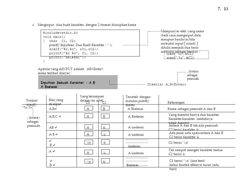 "#include void main() { char C1, C2; printf(""Inputkan Dua Buah Karakter : "" ); scanf(""%c,%c"", &C1,&C2); printf(""%c %c"", C1, C2); printf(""selesai""); } A"
