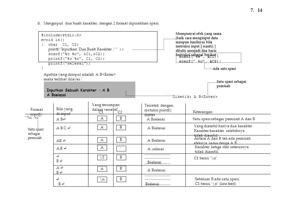 "#include mvoid in() { char C1, C2; printf(""Inputkan Dua Buah Karakter : "" ); scanf(""%c %c"", &C1,&C2); printf(""%c %c"", C1, C2); printf(""selesai""); } Ap"