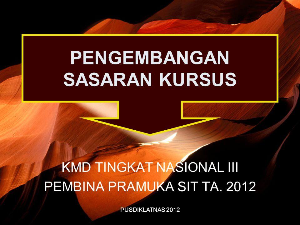 PUSDIKLATNAS 2012 PENGEMBANGAN SASARAN KURSUS KMD TINGKAT NASIONAL III PEMBINA PRAMUKA SIT TA. 2012