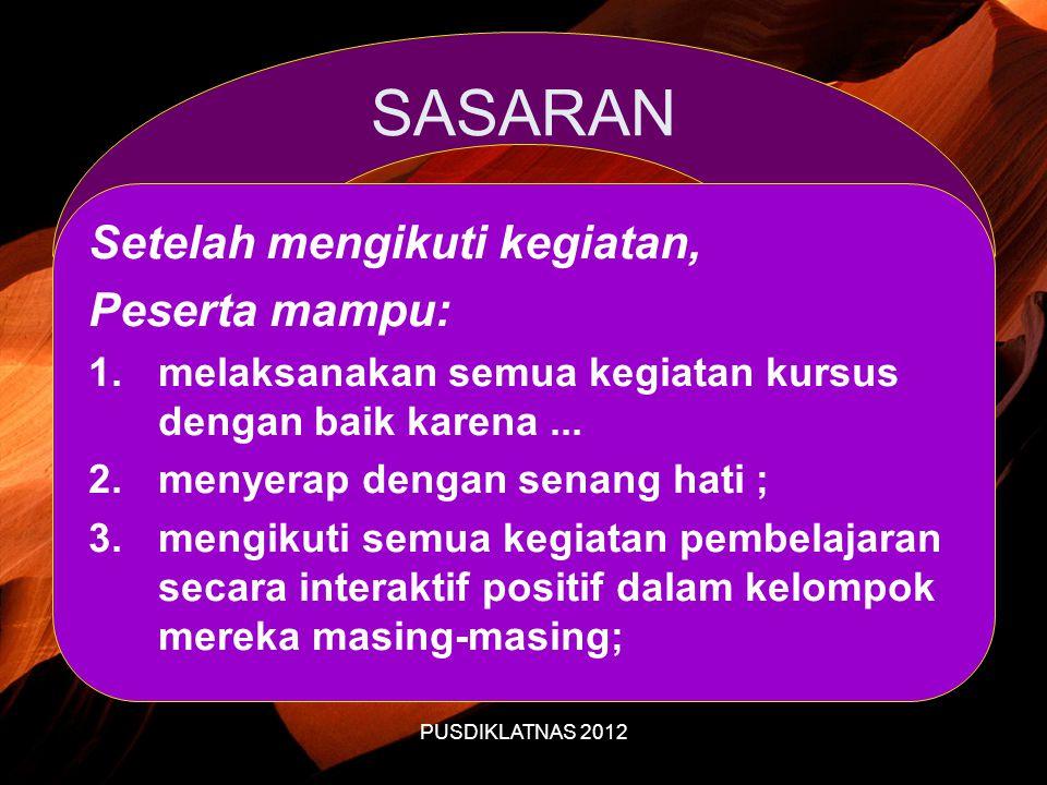 PUSDIKLATNAS 2012 SASARAN Setelah mengikuti kegiatan, Peserta mampu: 1.melaksanakan semua kegiatan kursus dengan baik karena...