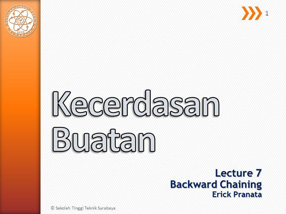 Lecture 7 Backward Chaining Erick Pranata © Sekolah Tinggi Teknik Surabaya 1