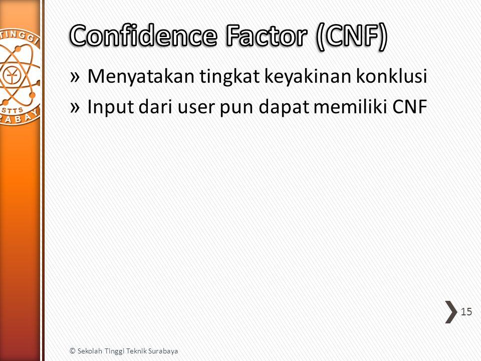» Menyatakan tingkat keyakinan konklusi » Input dari user pun dapat memiliki CNF 15 © Sekolah Tinggi Teknik Surabaya