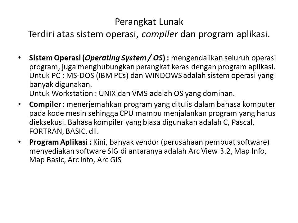 Perangkat Lunak Terdiri atas sistem operasi, compiler dan program aplikasi. Sistem Operasi (Operating System / OS) : mengendalikan seluruh operasi pro