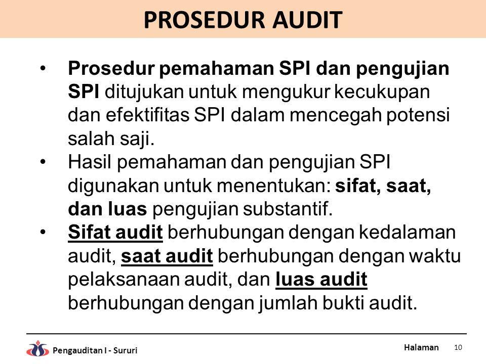 Halaman Pengauditan I - Sururi PROSEDUR AUDIT Prosedur pemahaman SPI dan pengujian SPI ditujukan untuk mengukur kecukupan dan efektifitas SPI dalam me
