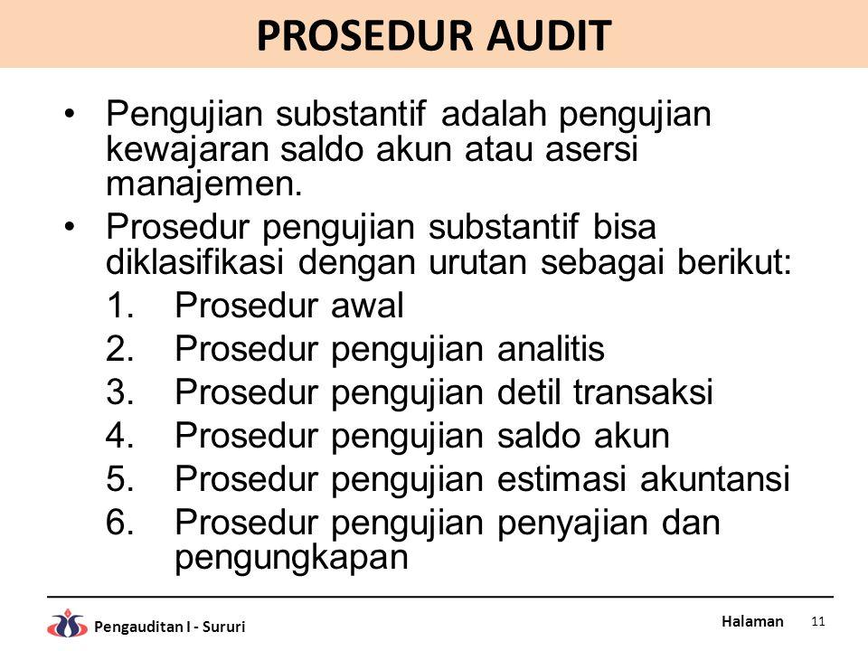 Halaman Pengauditan I - Sururi PROSEDUR AUDIT Pengujian substantif adalah pengujian kewajaran saldo akun atau asersi manajemen. Prosedur pengujian sub