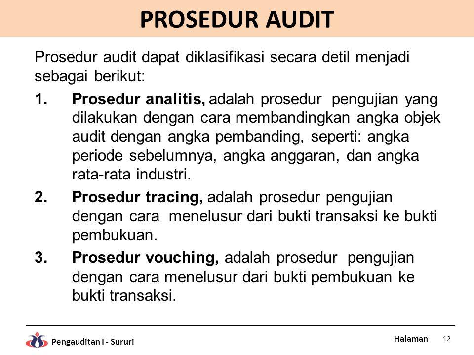 Halaman Pengauditan I - Sururi PROSEDUR AUDIT Prosedur audit dapat diklasifikasi secara detil menjadi sebagai berikut: 1.Prosedur analitis, adalah pro
