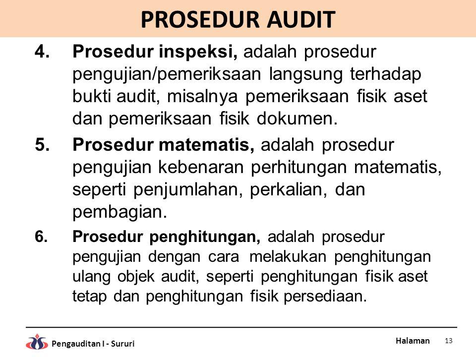 Halaman Pengauditan I - Sururi PROSEDUR AUDIT 4.Prosedur inspeksi, adalah prosedur pengujian/pemeriksaan langsung terhadap bukti audit, misalnya pemer