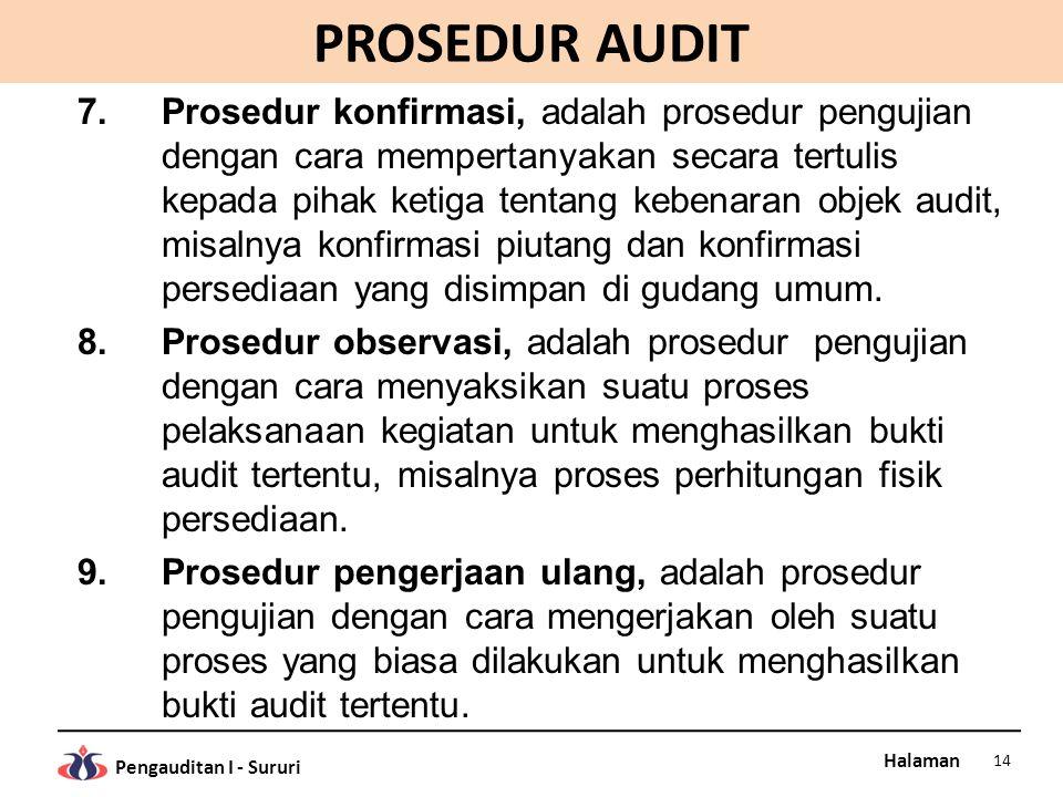 Halaman Pengauditan I - Sururi PROSEDUR AUDIT 7.Prosedur konfirmasi, adalah prosedur pengujian dengan cara mempertanyakan secara tertulis kepada pihak