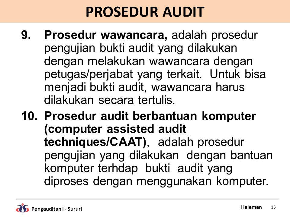 Halaman Pengauditan I - Sururi PROSEDUR AUDIT 9.Prosedur wawancara, adalah prosedur pengujian bukti audit yang dilakukan dengan melakukan wawancara de