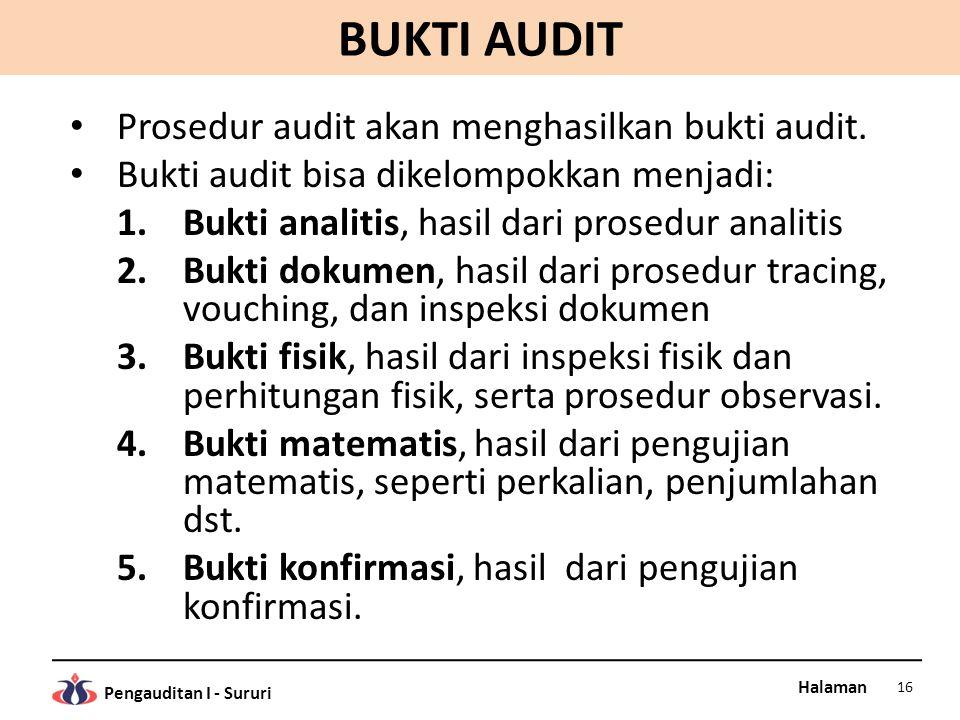 Halaman Pengauditan I - Sururi BUKTI AUDIT Prosedur audit akan menghasilkan bukti audit. Bukti audit bisa dikelompokkan menjadi: 1.Bukti analitis, has