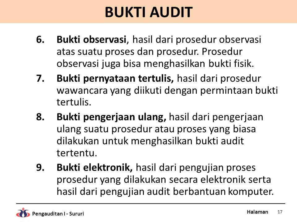 Halaman Pengauditan I - Sururi BUKTI AUDIT 6.Bukti observasi, hasil dari prosedur observasi atas suatu proses dan prosedur. Prosedur observasi juga bi