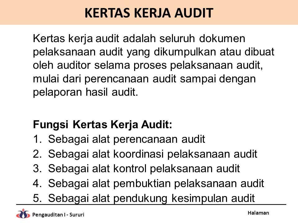 Halaman Pengauditan I - Sururi KERTAS KERJA AUDIT Kertas kerja audit adalah seluruh dokumen pelaksanaan audit yang dikumpulkan atau dibuat oleh audito