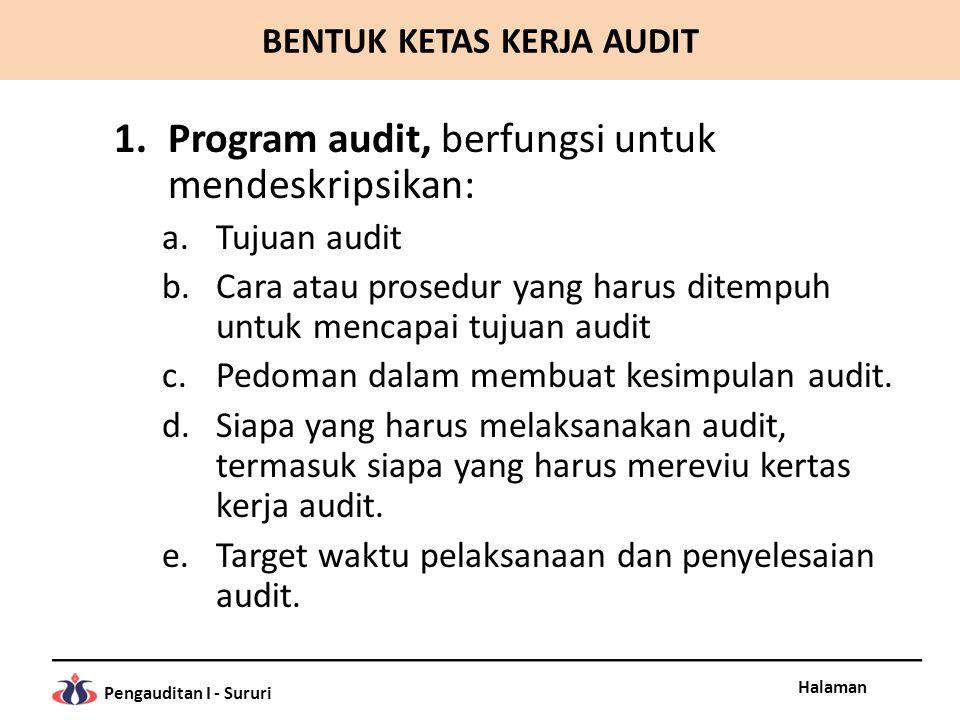 Halaman Pengauditan I - Sururi BENTUK KETAS KERJA AUDIT 1.Program audit, berfungsi untuk mendeskripsikan: a.Tujuan audit b.Cara atau prosedur yang har