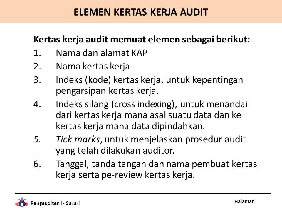 Halaman Pengauditan I - Sururi Kertas kerja audit memuat elemen sebagai berikut: 1.Nama dan alamat KAP 2.Nama kertas kerja 3.Indeks (kode) kertas kerj