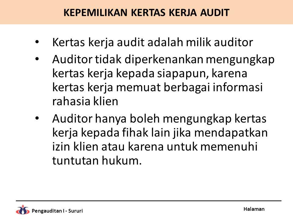 Halaman Pengauditan I - Sururi Kertas kerja audit adalah milik auditor Auditor tidak diperkenankan mengungkap kertas kerja kepada siapapun, karena ker