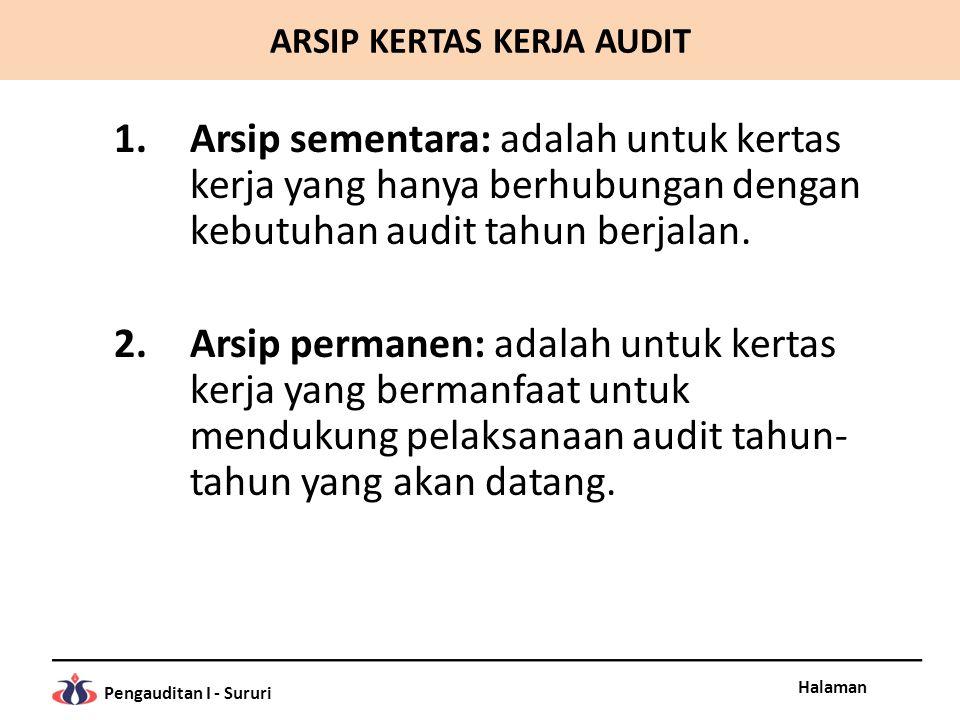 Halaman Pengauditan I - Sururi 1.Arsip sementara: adalah untuk kertas kerja yang hanya berhubungan dengan kebutuhan audit tahun berjalan. 2.Arsip perm