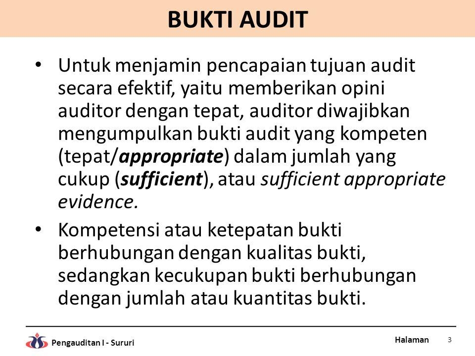 Halaman Pengauditan I - Sururi BUKTI AUDIT Untuk menjamin pencapaian tujuan audit secara efektif, yaitu memberikan opini auditor dengan tepat, auditor