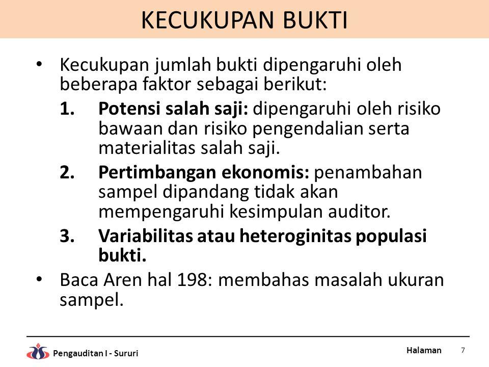Halaman Pengauditan I - Sururi Saldo Kas Kas kecil (1) 2.000.000 Kas di tangan (2) 8.000.000 Kas di Bank A (3)55.000.000 Kas di Bank B (4)85.000.000 Saldo kas (KKK-N)150.000.000 (1) Sesuai dengan hasil perhitungan kas (A-1) (2) Sesuai dengan hasil perhitungan kas (A-1) (3) Sesuai dengan rekonsiliasi Bank A (A-2) (4) Sesuai dengan rekonsiliasi Bank B (A-3) A Tick marks Indeks silang: KKK-N, A-1, A-2 dan A-3 Ilustrasi Bentuk Kertas Kerja Audit