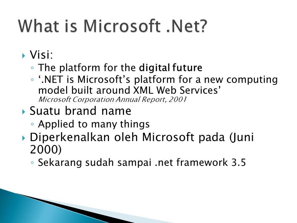  Visi: ◦ The platform for the digital future ◦ '.NET is Microsoft's platform for a new computing model built around XML Web Services' Microsoft Corporation Annual Report, 2001  Suatu brand name ◦ Applied to many things  Diperkenalkan oleh Microsoft pada (Juni 2000) ◦ Sekarang sudah sampai.net framework 3.5