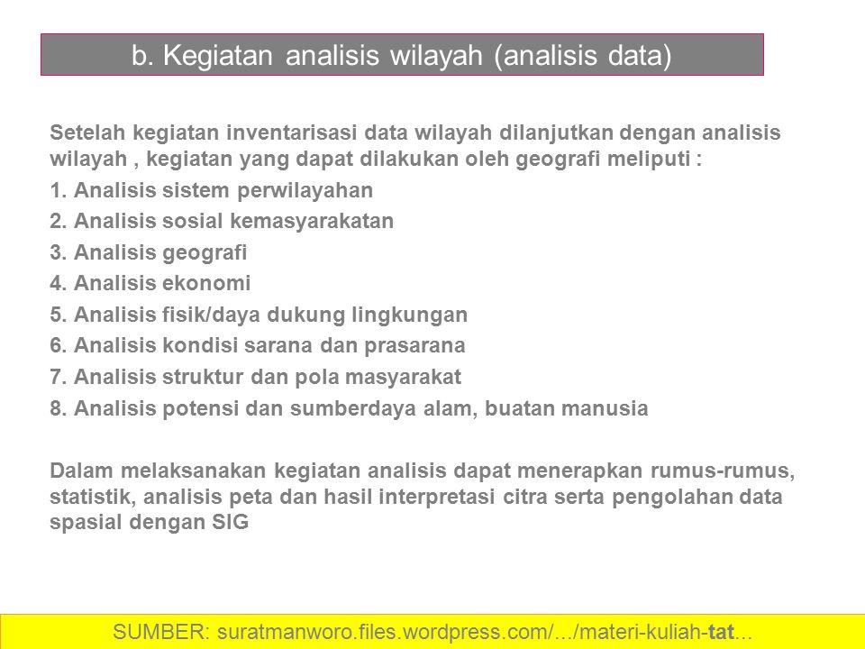 b. Kegiatan analisis wilayah (analisis data) Setelah kegiatan inventarisasi data wilayah dilanjutkan dengan analisis wilayah, kegiatan yang dapat dila