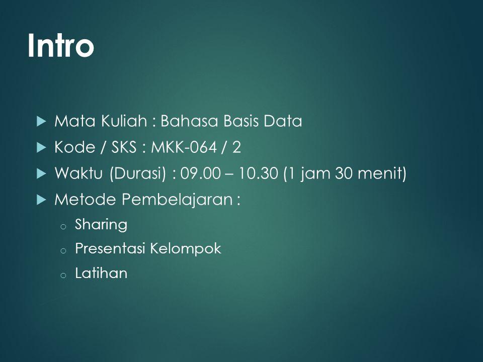  Mata Kuliah : Bahasa Basis Data  Kode / SKS : MKK-064 / 2  Waktu (Durasi) : 09.00 – 10.30 (1 jam 30 menit)  Metode Pembelajaran : o Sharing o Pre