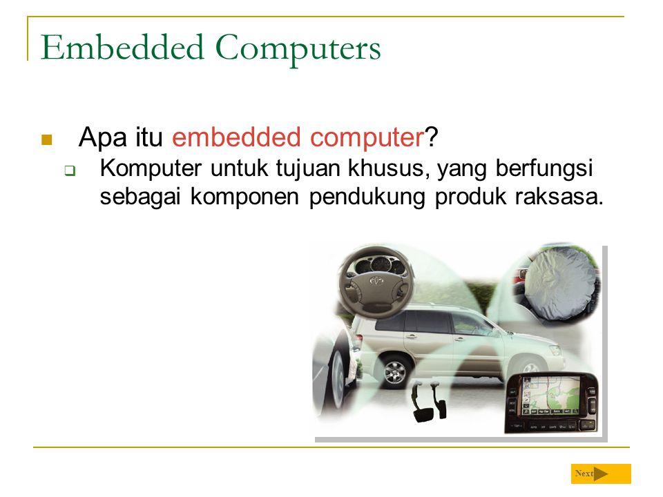 Embedded Computers Apa itu embedded computer?  Komputer untuk tujuan khusus, yang berfungsi sebagai komponen pendukung produk raksasa. Next