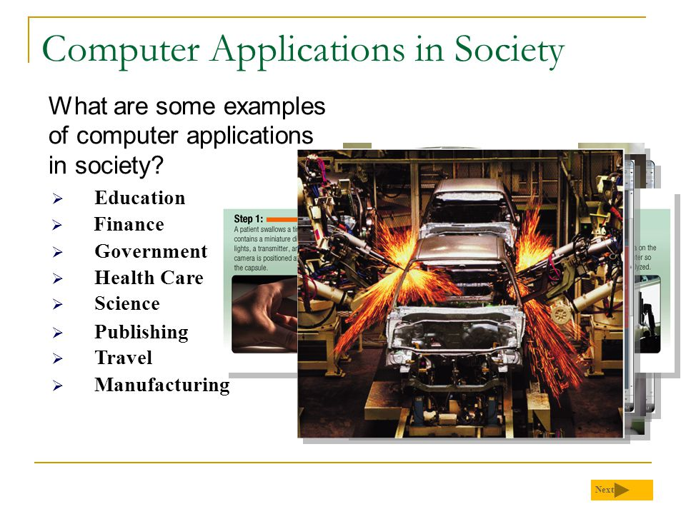 Computer Applications in Society What are some examples of computer applications in society? Next  Education  Finance  Government  Health Care  S