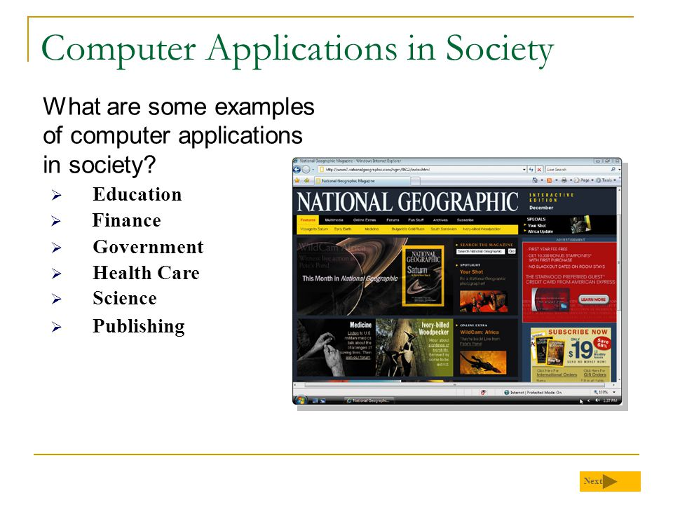 Computer Applications in Society What are some examples of computer applications in society.