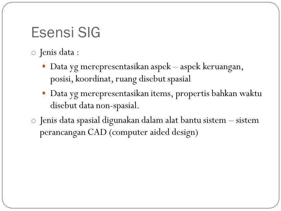 Esensi SIG o Jenis data :  Data yg merepresentasikan aspek – aspek keruangan, posisi, koordinat, ruang disebut spasial  Data yg merepresentasikan it
