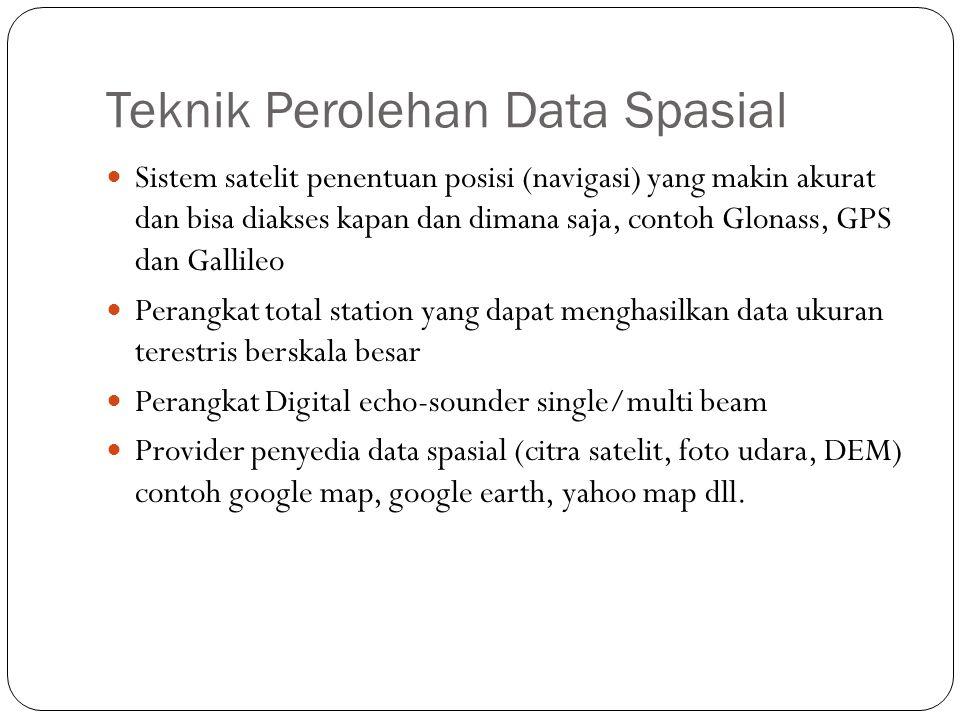 Teknik Perolehan Data Spasial Sistem satelit penentuan posisi (navigasi) yang makin akurat dan bisa diakses kapan dan dimana saja, contoh Glonass, GPS